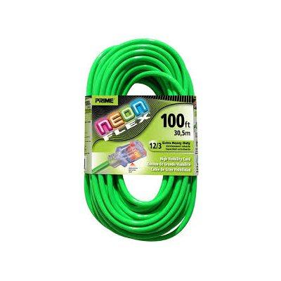 100ft, 12 / 3 SJTW Neon GREEN