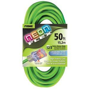 50ft, 12 / 3 SJTW Neon GREEN