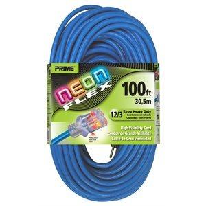 100ft, 12 / 3 SJTW Neon BLUE