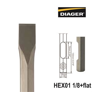 HEX01 1 / 8+Flat; Flat chisel; 1 1 / 4x16